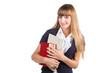 Portrait of a cute young student girl with books isolated on whi