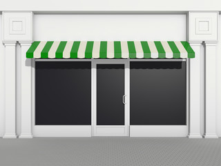 Shopfront - classic store front with green awnings