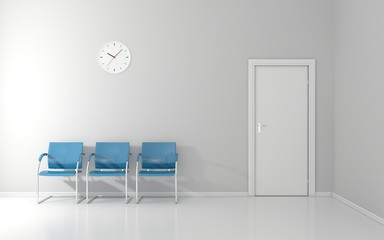 Three blue stools and wall clock in the waiting room