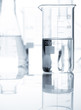 Laboratory flasks with a clear liquid, close-up view