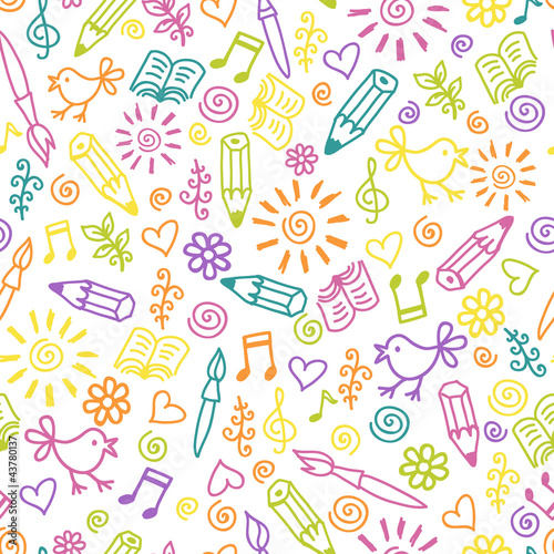 poster of Cheerful childlike seamless pattern