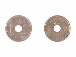 Spanish pesetas coin