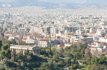 City of Athens with mountains on the background