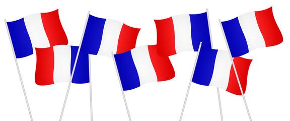 Petits drapeaux français célébrant la victoire