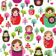 Seamless russian matryoshka doll background pattern in vector