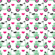 Seamless retro scooter background pattern in vector