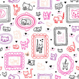 Seamless cat kitten ornament kids background pattern in vector