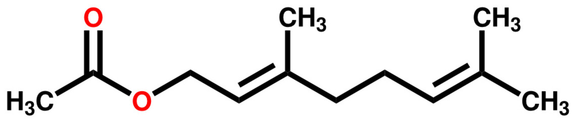 Geranyl acetate, a compound with fruity rose aroma
