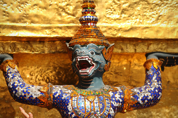 Yaksha spirit statue at the Grand Palace in Bangkok, Thailand