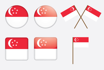 set of badges with flaf of Singapore vector illustration