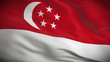 Highly detailed flag of Singapore ripples in the wind. Looped