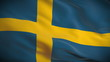Highly detailed Swedish flag ripples in the wind. Looped