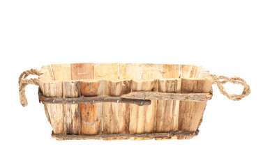 Empty wooden basket