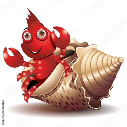 Paguro-Hermit Crab-Bernard l'Hermite Cartoon-Vector