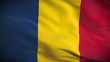 Highly detailed Romanian flag ripples in the wind. Looped
