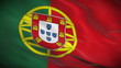 Highly detailed Portuguese flag ripples in the wind. Looped