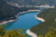 blue river around mountains