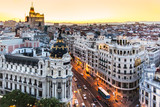 Panoramic view of Gran Via, Madrid, Spain. - Fine Art prints