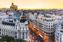 Vue panoramique sur la Gran Via, Madrid, Espagne.