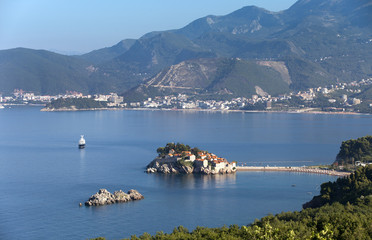 island town St.Stephan in adriatic sea, Montenegro