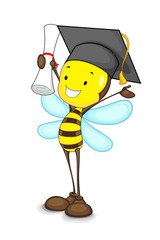 vector illustration of happy bee with graduation hat