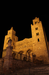 Cefalu cathedral at night