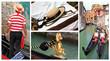 Venice, gondollas, gondoliers - conceptual collage
