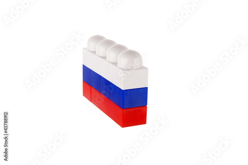 Flag of Russia made of toy building blocks