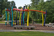 Colorful climb- and swing construction