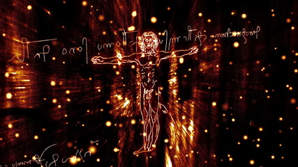 The Vitruvian Man and mirror writing Handdrawn animation