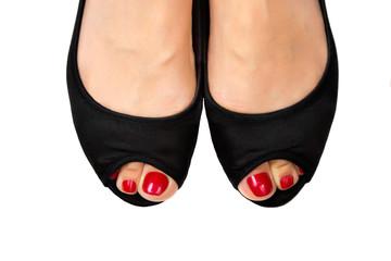 Red pedicure&black shoes-5