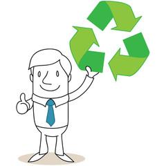 Geschäftsmann, Recycling, Daumen hoch