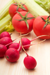 fresh raddish and vegetables