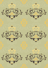 Light green  seamless background with heart and flowers