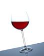 Weinglas schräg stehend