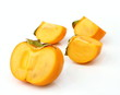 Persimmon tropical fruit slice on half