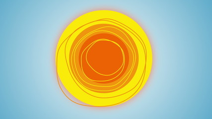 Animation of sun rotating in the center of a blue sky.
