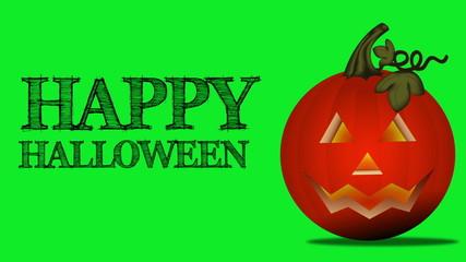 Jack-o-lantern with words Happy Halloween. Green screen.