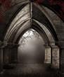 Ruiny kościoła nocą