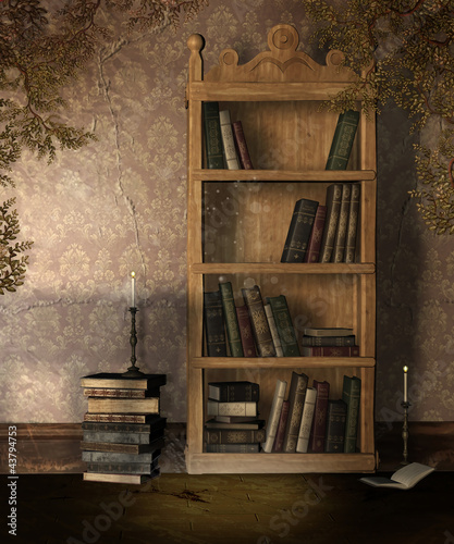 Tuinposter Bibliotheek Stary regał na książki