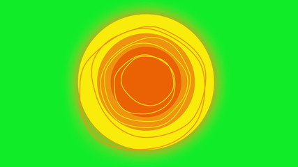 Animation of sun rotating in the center of a green screen.