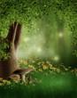 Leśna polana z grzybami i kwiatami