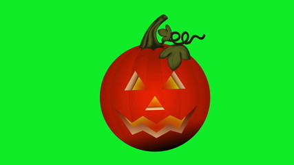 Animation of jack-o-lantern flickering on a green screen.