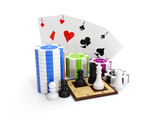 3d illustration: Entertaining game. Poker with chips and chess poster