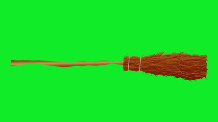 Animation of Witch's broom moving in center of a green screen.