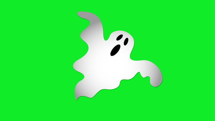 Animation of Ghost moving in center of screen on green screen.