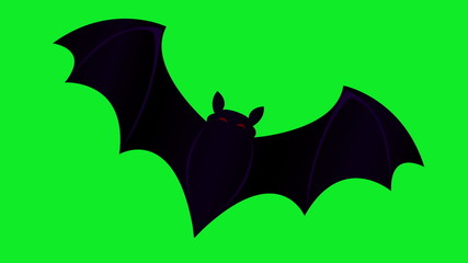 Animation of bat moving in center of screen on green screen.