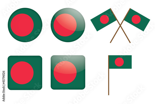 set of badges with flag of Bangladesh vector illustration