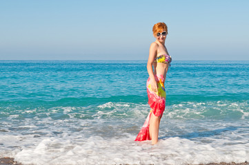 Beautiful woman on  outdoor at summer beach