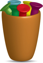 Colorful Golf Tees In A Cup,vector